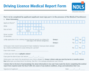 Drivers Licence Medical Report